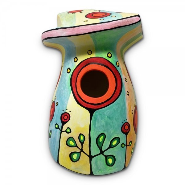 One of a kind, hand-painted clay birdhouse